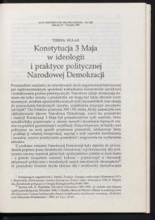Konstytucja 3 Maja w ideologii i praktyce politycznej Narodowej Demokracji