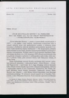 Życie kulturalne Krynicy na przełomie XIX i XX wieku (na tle jej spraw wewnętrznych i funkcjonowania uzdrowiska)