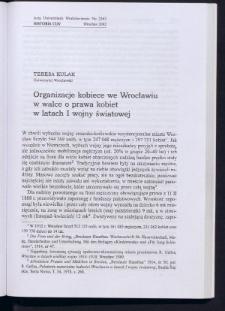 Organizacje kobiece we Wrocławiu w walce o prawa kobiet w latach I wojny światowej