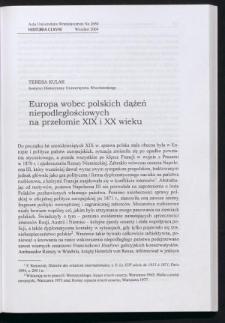 Europa wobec polskich dążeń niepodległościowych na przełomie XIX i XX wieku