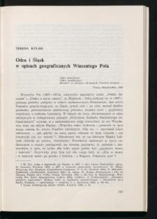 Odra i Śląsk w opisach geograficznych Wincentego Pola