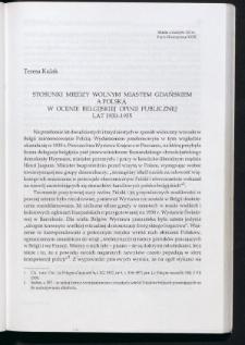 Stosunki między Wolnym Miastem Gdańskiem a Polską w ocenie belgijskiej opinii publicznej lat 1930-1935