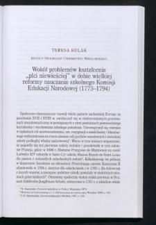 """Wokół problemów kształcenia """"płci niewieściej"""" w dobie wielkiej reformy nauczania szkolnego Komisji Edukacji Narodowej (1773-1794)"""