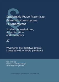 Wyzwania dla państwa prawa i gospodarki w dobie pandemii