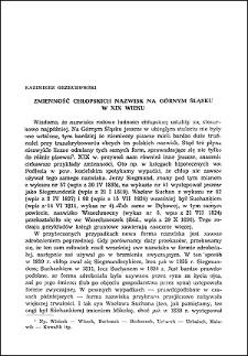 Zmienność chłopskich nazwisk na Górnym Śląsku w XIX wieku