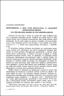 Spostrzeżenia o roli pana feudalnego w chłopskim opiekuńczym prawie : (na przykładzie jednej ze wsi górnośląskich)