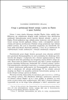 Uwagi o periodyzacji historii ustroju i prawa na Śląsku w epoce feudalnej
