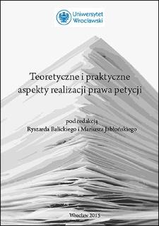 Teoretyczne i praktyczne aspekty realizacji prawa petycji : Słowo wstępne