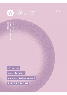 Creative industries in Wrocław in questions and answers. Research report